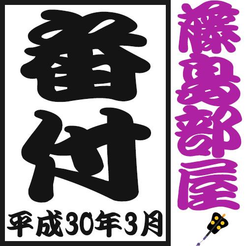 平成30年3月場所 藤島部屋 番付表
